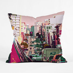 Big City Blush Pillow Cover - Dive into the hustle and bustle of a big city street at midday with this soft, striking pillow cover. Flirt with a trend, enjoying its photorealistic print, rendered in charming, rosy hues.