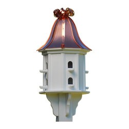 "Vinyl Birdhouse, Copper Ribbon Roof - Dovecote birdhouse adds unique curb appeal to your place with an impressive 36"" stature from base to curly ribbon roof. There's never any worries of rotting, cracking, splitting or fading... guaranteed!"