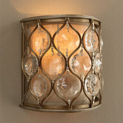 """""""Lucia"""" Wall Sconce - """"Lucia"""" Wall Sconce is a petite wall sconce, perfect for the places where a large sconce would overpower or be too large.  It features a unique design of steel and sunflower-shaped Bauhinia crystals.* 7.875""""W x 4.5""""D x 7.875""""T."""