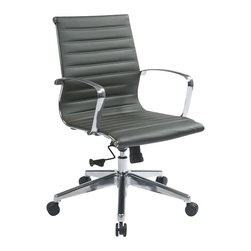 Office Star - Office Star Mid Back Eco Leather Chair in Grey - Office Star - Office chairs - 74612LT - Mid back Grey Eco leather chair with locking tilt control and Polished Aluminum arms and base