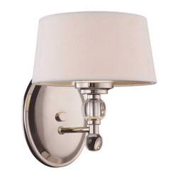 Savoy House - Murren Wall Sconce - This sconce will add a sense of polish and refinement to your wall, with its shiny nickel finish and creamy white shading. The crystal bauble on the base of the light provides a softness to an overall modern design. You'll love the contemporary simplicity of this glowing piece.