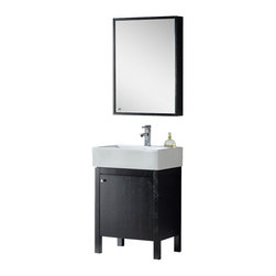 Fine Fixtures - Fine Fixtures Complete Imperial Vanity Collection, Black, Vanity - Maximized minimalism has a formal name: Imperial. What sets this clean-looking collection apart is its actual feigned disinterest in standing out at all. With squared surfaces, otherwise standard vanity styling, a simple, classic design, and nigh unnoticeable brushed aluminum button door and mirror handles, you could integrate an Imperial set into virtually any bathroom design with little effort. No wonder, then, that it remains one of our best-selling numbers. Its lasting feel tells of an all-plywood construction. The veneer face comes finished in either Black Grain or Light Maple Grain color choices, both perfectly matched to same-finish, wood-trimmed medicine cabinets. For easy plumbing access and general maximization of storage space, the entire front door opens easy to reveal a very spacious interior cavity. The roominess is made possible by the elevated positioning of the thick square grade AAA vitreous china sink.
