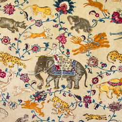 Eclectic - An Indian fantasy gold toile fabric filled with the most amazing beasts and animals! This is a handprint.