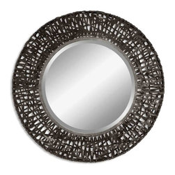 Uttermost - Alita Black Woven Metal with Rust Highlight Mirror - Mirror features a metal frame with black woven metal details.  Mirror has a generous 1 1/4 inch  bevel.