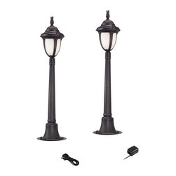"""Super Duty - Traditional Super Duty Casa Sorrento Bronze 4-Piece LED Landscape Set - Offer access lighting to your outdoor spaces with this complete landscape lighting set from the Casa Sorrento Super Duty™ line. Two tall low voltage and energy efficient LED landscape lights with marbleized glass and a bronze finish provide illumination. A 45-watt low voltage transformer is included which features a built-in photocell for dusk to dawn operation. A black landscape wire completes the kit so you can connect your lights bringing this set together for a spectacular look. Works with existing low voltage landscape lighting systems.  4-piece set in bronze.  From the Casa Sorrento Super Duty™ line.  Cast aluminum construction.  2 tall LED landscape lights one 45-watt low voltage transformer cable.  Path lights include integrated 3 watt LED module.  Comparable to a 25 watt incandescent bulb.  Free 45 watt transformer.  Full ON mode or 3 AUTO settings (4 6 and 8 hours).  Built in photo-cell for dusk to dawn operation.  Free 50 feet of cable.  Includes ground stakes.  Lights are 46"""" high 11"""" wide."""