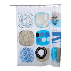 Printed Polyester Shower Curtain Street Art Blue - This printed shower curtain Street Art for bathrooms is in polyester, tissue effect. It is opaque with circular urban patterns and is equipped with 12 strengthened eyelets for hanging (12 shower rings needed, sold separately). Water-repellent and machine washable, it will fit perfectly in your shower or bathtub. Prior to hanging, immerse curtain in a bath of warm water to help remove creases. Cleaning with soapy water only. Width 71-Inch and height 79-Inch. Color blue and grey. This shower curtain is perfect to add a decorative touch in your bathroom! Complete your decoration Street Art with other products of the same collection. Imported.