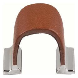 Atlas Homewares - Atlas Hamptons 4 1/2-Inch Saddle Leather Door Pull Saddle Leather/Chrome - Atlas Hamptons 4 1/2-Inch Saddle Leather Door Pull Saddle Leather/Chrome