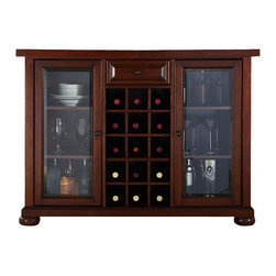 Crosley Furniture - Bar Cabinet in Mahogany Finish - Sliding expandable top. Beveled or tempered glass doors. Raised front panel drawer. Adjustable shelves and plentiful storage space for spirits, appliances and other items. Center storage area is great for up to fifteen bottles of wine. Can be remove wine storage cubes to reveal an adjustable shelf. Antique brass hardware. Doubles as a serving station when entertaining. Adjustable levelers in legs. ISTA 3A certified. Warranty: 90 days. Made from solid hardwood and wood veneers. Assembly required. 64 in. W x 20 in. D x 36 in. H (220 lbs.)Elegantly entertain guests with this sliding top bar cabinet Style, function and quality make this sliding top bar cabinet a wise addition to your home.
