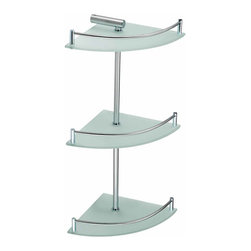Renovators Supply - Corner Shelves Frosted Glass Stainless Steel 3 Tier Corner Shelf | 13540 - Glass shelves are a modern option for the well appointed bathroom. Easy to clean, attractive, and ergonomic. Maintain order in your bathroom and improve its style. Frosted tempered glass with both polished and brushed strainless steel accents. 20 1/2 inch H.