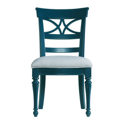 Stanley Furniture - Coastal Living Cottage Sea Watch Side Chair - Navy Finish - Combine a filigree back and chamfered legs and you've got reason to sit a little longer. Features a cushioned seat in your choice of five fabrics. Made to order in America.