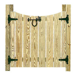 """Fifthroom - 36"""" Arbor Gate - These gates are made from heavy duty treated pine lumber.  Made from 2 16†wide halfs that open in the middle."""