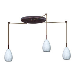 Besa Lighting - Besa Lighting 3BW-171319-HAL Pera 3 Light Halogen Cord-Hung Mini Pendant - The Pera 6 is a curvy bell-bottomed shape, that fits nicely into any contemporary design. Our Carrera glass is a classic yet modern decor that gives off a soft white light. Clear molten glass is rolled in alabaster powder like frit, and then blown into shape with a semi-clear frosted white inner finish. This decor is created by rolling molten glass in small bits of white called frit. The smooth satin finish on the clear outer layer is a result of an extensive etching process. This blown glass is handcrafted by a skilled artisan, utilizing century-old techniques passed down from generation to generation. Each piece of this decor has its own artistic nature that can be individually appreciated. The cord pendant fixture is equipped with three (3) 10' SVT cordsets and a 3-light large round canopy, three (3) suspension stemhooks included.Features: