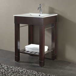 "24"" Loft Vanity - This beautiful console style vanity is perfect for smaller bathrooms without giving up style. The 24"" Loft Vanity has a gorgeous Dark Walnut finish and includes a porcelain top with a built-in sink."