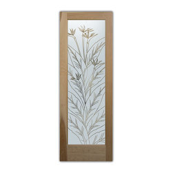 "Bird of Paradise Pinstripe - Whether it's front entry doors, or interior glass doors the first focal point of any home, business or office are the doors, and art glass doors by Sans Soucie add a unique element and a level of luxury while providing privacy AND light!   From a little to a lot, the privacy you need is created without sacrificing sunlight.  From simple frosted glass effects to our more extravagant 3D sculpture carving, painted and stained glass and everything in between, Sans Soucie designs are sandblasted different ways which create not only different effects but different levels in price.  The ""same design, done different"" - with no limit to design, there's something for every decor, regardless of style.  Price will vary by design complexity and type of effect:  Specialty Glass and Frosted Glass.  For complete descriptions of glass types and effects, click here.  Available any size, all glass is custom made to order and ships worldwide.  Door glass will be tempered and come in various thicknesses and types depending on door location (interior or exterior) and the effect selected.  Selling both the glass inserts for doors as well as door frames, Sans Soucie doors are available as an interior or entry door in 8 woods and 2 fiberglass, as a slab door or prehung in the jamb in any size.  Inside our incredibly fun, easy to use online Door Designer, you'll get instant pricing on everything as YOU customize your door and glass!  When you're all finished designing, you can place your order online!   We're here to answer any questions you have so please call (877) 331-339 to speak to a knowledgeable representative!   Doors ship worldwide at reasonable prices from Palm Desert, California with delivery time ranges between 3-8 weeks depending on door material and glass effect selected.  (Doug Fir or Fiberglass in Frosted Effects allow 3 weeks, Specialty Woods and Glass  [2D, 3D, Leaded] will require approx. 8 weeks)."