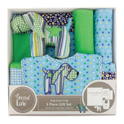 """Trend Lab - 5 Piece Gift Set - Dog Gone Cute - Welcome baby with this adorable Dog Gone Cute 5-Piece Gift Set by Trend Lab. Set features a multi-patched blanket, appliqued bib, two burp cloths and a patched stuffed puppy all made from a mixture of charming cotton prints giving a homespun feel. Bib and burp cloths are backed with soft, absorbent cotton terry cloth while the blanket is back with cuddly green fleece. Blanket features a navy, yellow, royal blue and white circle print; a summer green gingham print; a variegated stripe print featuring shades of navy, summer green, blue raspberry, kiwi and white; a royal blue, yellow, summer green and white star print on a blue raspberry base; a blue raspberry gingham print; and a summer green and white mini dot print. Bib features a royal blue, yellow, summer green and white star print on a blue raspberry base with a playful patched puppy applique, a navy, orange peel and royal blue circle print, white rickrack detailing and a blue raspberry gingham trim. Burp cloth patterns feature a royal blue, yellow, summer green and white star print on a blue raspberry base; and a summer green and white mini dot print. Stuffed puppy prints include: a variegated stripe print featuring shades of navy, summer green, blue raspberry, kiwi and white; a royal blue, yellow, summer green and white star print on a blue raspberry base; a navy, orange peel, royal blue and white circle print; and a summer green gingham print. Blanket measures 32"""" x 40""""; Burp Cloths measure 10"""" x 13""""; Bib measures 9"""" x 12"""" with Velcro closure; Puppy stands approximately 5"""" tall."""