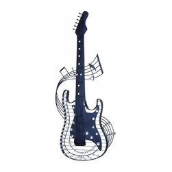 UMA - Guitar Dreams - Guitar is accentuated by sheet music that surround it and add to its authenticity for the guitar lover or music room