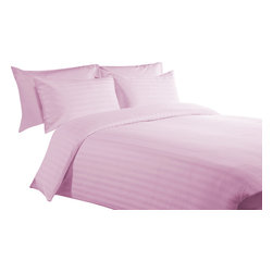 600 TC 15 Deep Pocket Sheet Set with 1 Flat Sheet Strips Pink, Twin - You are buying 2 Flat Sheet (66 x 96 inches), 1 Fitted Sheet (39 x 80 inches) and 2 Standard Size Pillowcases (20 x 30 inches) only.