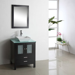 VIRTU - Virtu USA Brentford 28-inch Single Sink Bathroom Vanity Set - The Brentford 28-inch single sink vanity set is equipped with several soft-closing drawers and your choice of gorgeous countertop. A pre-drilled single hole faucet mount is added for your convenience.
