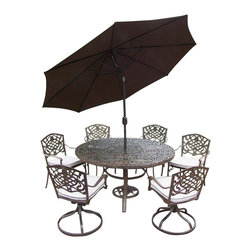 Oakland Living - 9-Pc Round Outdoor Dining Table Set - Includes one round table, four stackable and two swivel chairs with cushions, crank and tilting umbrella and stand. Metal hardware. Fade, chip and crack resistant. Umbrella hole. Center of table can be replaced with ice bucket. Traditional lattice pattern and scroll work. Warranty: One year limited. Made from rust free cast aluminum. Antique bronze hardened powder coat finish. Minimal assembly required. Table: 60 in. Dia. x 29 in. H (70 lbs.). Stackable chair: 23 in. W x 22 in. D x 35.5 in. H (25 lbs.). Swivel chair: 23 in. W x 17.5 in. D x 38 in. H (33 lbs.)This 60 inch 9 piece dining set is the prefect piece for any outdoor dinner setting. Just the right size for any backyard or patio. The Oakland Mississippi Collection combines southern style and modern designs giving you a rich addition to any outdoor setting. Each piece is hand cast and finished for the highest quality possible.