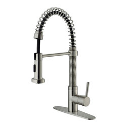 Vigo - VIGO VG02001STK1 Spray Faucet w/ Deck Plate - Faucet features a dual function spiral pullout spray head for aerated flow or powerful spray