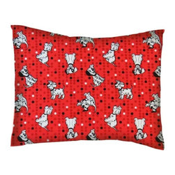 SheetWorld - SheetWorld Twin Pillow Case - Percale Pillow Case - Dalmations Red - Made in USA - Twin pillow case. Made of an all cotton woven fabric. Side Opening. Features the one and only 101 Dalmations on a red colored background.