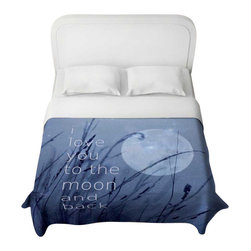 DiaNoche Designs - Love You to the Moon Duvet Cover - Lightweight and super soft brushed twill Duvet Cover sizes Twin, Queen, King.  Cotton Poly blend.  Ties in each corner to secure insert. Blanket insert or comforter slides comfortably into Duvet cover with zipper closure to hold blanket inside.  Blanket not Included. Dye Sublimation printing adheres the ink to the material for long life and durability. Printed top, khaki colored bottom, Machine Washable, Product may vary slightly from image.