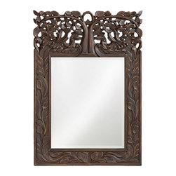 Howard Elliott - Howard Elliott 4084 Oakvale Antique French Brown Mirror - Antique French Brown Mirror belongs to Oakvale Collection by Howard Elliott This rectangular mirror features a frame carved with a lovely leaf design reaching up to an Ornate,Traditional open work tree design. The piece is finished with an antique French brown and highlighted with gold accents. Mirror (1)