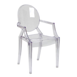 Flash Furniture - Flash Furniture Ghost Chair with Arms in Transparent Crystal - Create a beautiful and artistic statement with the Louis Inspired Ghost Chair. This chair will lighten up any room and provide a grand statement. The transparency of the chair allows it to take up less space visually as with a solid chair. The versatility of this chair makes it look great in any contemporary indoor setting, but suitable for outdoor seating as well. Showing off this masterpiece will also not break your budget, but will just look like you did! The lightweight quality built chair was built to give you years of use and comfort.