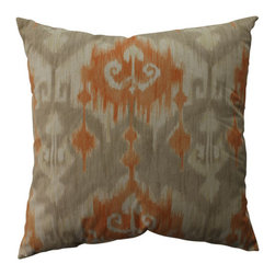 Marlena Ikat Coral Taupe Beige Pillow - - Pillow Perfect Marlena Ikat Orange 23-inch Floor Pillow  - Sewn Seam Closure  - Spot Clean Only  - Finish/Color: Coral/Taupe/Beige  - Product Width: 23  - Product Depth: 23  - Product Height: 5  - Product Weight: 2.5  - Material Textile: 100% Cotton  - Material Fill: 100% Recycled Virgin Polyester Fill Pillow Perfect - 513188