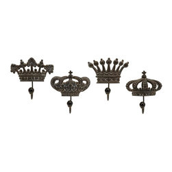 IMAX Worldwide Home - French Quarter Accents 4-Pc Regent's Crown Ho - Set of 4. Fits for king. Made from iron and porcelain. Minimal assembly required. 5.5 in. W x 2.75 in. D x 6 in. H. 5.75 in. W x 2.75 in. D x 6 in. H. 6 in. W x 2.75 in. D x 6.25 in. H. 6.25 in. W x 2.75 in. D x 6.25 in. H