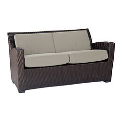 Brown Jordan Fusion Loveseat - Brown Jordan's Fusion Collection is the perfect combination of elegance and boldness. Its structural shape is made of woven rattan, covered in a durable, bronze finish — made to withstand all sorts of weather conditions.