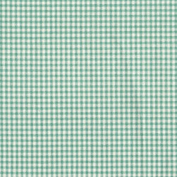 Close to Custom Linens - Bradford Valance Gingham and Ticking Stripe Pool Blue-Green - A charming traditional gingham check in pool blue-green on a cream background.