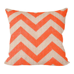 """Fiber and Water - Orange Chevron Pillow - No Pillow Insert. Cover Only - Orange Chevron pillow, add a little POP to your sofa. This hand-printed piece of art has beautiful texture from a combination of natural burlap and water-based paints. Dimensions: 19""""x19"""". Front: 100% Sultana Burlap w/ Hand-Pressed Print in Orange. Back: 100% Natural Duck Cloth Canvas. French Seams & Surged Edges. Aluminum Hidden Zipper. Spot-Clean Only. As always, Made in Maine."""