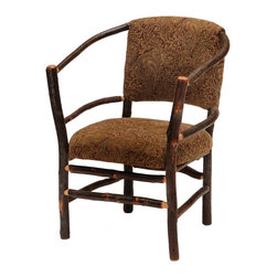 Fireside Lodge Furniture - Hickory Log Hoop Chair w Upholstered Seat & B - Fabric: AutumnHickory Collection. Upholstered seat and back for superior comfort. All hickory logs are bark on and kiln dried to a specific moisture content. Individually hand crafted. Clear coat catalyzed lacquer finish for extra durability. 2-Year limited warranty. 25 in. W x 24 in. D x 35 in. H