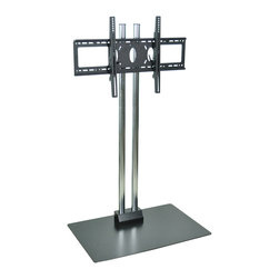 """Luxor - H Wilson Flat Panel Cart - WPSMS62CH - Holds 37"""" to 60"""" Flat Panel TV's. 60"""" Height. Two heavy duty chrome steel tubes with black powder coated base. Engineered for safety. The heavy duty base plate 27"""" x 23 1/2"""" footprint prevents tipping and the 49 Lbs. of counter weight provides the proper center of gravity."""