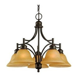 Design House - Bristol 5-Lights Chandelier - Requires five 60 watts medium base E27 incandescent bulbs. 48 in. chain. Tea speckled glass. UL/cUL listed. Voltage: 120 V. Made from formed steel. Oil rubbed bronze color. 23 in. Dia. x 19.25 in. H (14.3 lbs.). Warranty. Assembly InstructionsThis product is designed for indoor lighting and blends traditional aesthetics with the latest trends in interior design. Providing your home with warm nurturing light, this product keeps bedrooms and dining areas well lit. With glare-free illumination and spot-on color rendition, this light is perfect for your living room. This light meshes modern construction with industry leading features and offers safe, glare-free light.