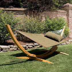 Frontgate - Soft Weave Hammock, Patio Furniture - Well-designed hammock offers advanced weather resistance and remarkable softness. Soft, woven bed is crafted from exceptionally strong, solution-dyed DuraCord®, one of the industry's most colorfast fibers; encased olefin acrylic fabric strips house a center of polyester fiberfill batting for extra sleek comfort. Spreader bars crafted from sustainably harvested South American cumaru teak that naturally weathers to a stately silver-gray. DuraCord® ropes are made from 3-ply synthetic materials that are soft as cotton. Equipped with the industry's heaviest steel hardware, all zinc plated to retain polished chrome shine and ward off rust. Whether at the seaside or on the family farm, there's nothing quite as comfortable and relaxing as lounging in the afternoon breeze in a swaying hammock. Especially if that hammock is as extraordinary as ours. Every detail of our soft weave hammock has been carefully considered, from the soft bed that looks like wicker but is cushioned to the core, to the texture of the rope, the sustainable teak stretcher bars, and the durable hardware. So, get ready to set up your oasis in the shade of two trees or between beams on a porch or deck. Add a matching pillow (sold separately) for extra contentment.. Soft, woven bed is crafted from exceptionally strong, solution-dyed DuraCord, one of the industry's most colorfast fibers; encased olefin acrylic fabric strips house a center of polyester fiberfill batting for extra sleek comfort. . DuraCord ropes are made from 3-ply synthetic materials that are soft as cotton. . Nickel plated, rolled rim grommets attach the bed to the ropes. One-piece adjustable ring-and-chain hook makes for easy set up. Two chains and tree hook hardware included. Hammock stand and pillow sold separately. Imported. 1-year manufacturer warranty.