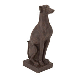 Benzara - Table Top Polystone Sitting Dog 14in.H, 5in.W Statue - Size: 5 Wide x 4 Depth x 14 High (Inches)