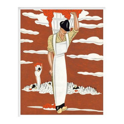 Harvest, Small, Unframed - This print is of one of a series of art deco illustrations depicting scenes on a vineyard, originally completed as promotions for a French wine company, originally created circa 1935 Paris, France.