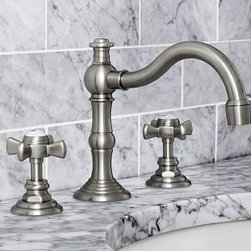 "Langford Faucet, Satin Nickel finish - Our faucet adds refined style to the bath with rounded cross-hatch handles and a graceful curving spout. Fits sink openings with an 8"" to 16"" widespread. Cast of solid brass with a thickly plated finish. A pre-installed aerator restricts water flow to 2 gallons per minute. Professional installation required. {{link path='pages/popups/install_langford_popup.html' class='popup' width='720' height='350'}}Learn more{{/link}} about how to install this faucet. Catalog / Internet Only. Made in the USA."