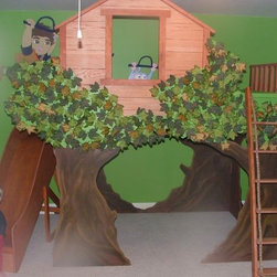 Boys Furniture Boys Beds - Boys Custom Loft Jungle bed with slide and steps www.sweetdreambed,com