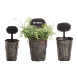 Chalkboard Bucket Planter - Set of 3 - The natural and the industrial unite to create an intriguing contrast with this set of three tin planters. This is the perfect setting for planting annuals and herbs on your windowsill, in a sunny corner, or in your garden. With each one containing its own chalkboard for easy labeling, forgetting which herb is which is a thing of the past.