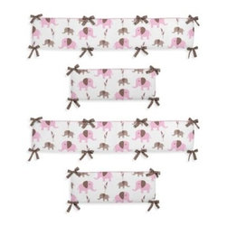 Sweet Jojo Designs - Sweet Jojo Designs Mod Elephant Crib Bumper - The Pink and Taupe Mod Elephant Collection of bedding and accessories from Sweet Jojo Designs will help you design an incredible room for your child. This adorable set features a fun elephant print and pink, taupe and white colors.