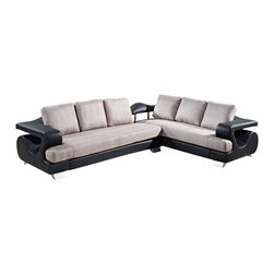 Global Furniture - 2Pc Sectional Grey Fabric / Black Pu - Detail and style is what sets this piece apart. With dramatic curves, large T cushions and back pillows this 2 piece sectional upholstered in gray fabric with black leather look material and thick silver feet is not only comfortable and trendy but offers
