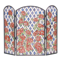 Meyda Tiffany - Meyda Tiffany Roses Trellis Fireplace Screen X-44753 - A trellis design is adorned with layers of beautiful red roses on this stunning Meyda Tiffany fireplace screen. From the Trellis Collection, this elegant design incorporates shades of white, lavender plum, burgundy and vibrant red, for a visually stunning, eye-catching effect, especially when lit from a roaring fire.