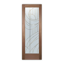"Interior Glass Doors - Frosted Obscure STREAMERS PS - CUSTOMIZE YOUR INTERIOR GLASS DOOR!  Interior glass doors ship for just $99 to most states, $159 to some East coast regions, custom packed and fully insured with a 1-4 day transit time.  Available any size, as interior door glass insert only or pre-installed in an interior door frame, with 8 wood types available.  ETA will vary 3-8 weeks depending on glass & door type.........Block the view, but brighten the look with a beautiful interior glass door featuring a custom frosted glass design by Sans Soucie!   Select from dozens of sandblast etched obscure glass designs!  Sans Soucie creates their interior glass door designs thru sandblasting the glass in different ways which create not only different levels of privacy, but different levels in price.  Bathroom doors, laundry room doors and glass pantry doors with frosted glass designs by Sans Soucie become the conversation piece of any room.   Choose from the highest quality and largest selection of frosted decorative glass interior doors available anywhere!   The ""same design, done different"" - with no limit to design, there's something for every decor, regardless of style.  Inside our fun, easy to use online Glass and Door Designer at sanssoucie.com, you'll get instant pricing on everything as YOU customize your door and the glass, just the way YOU want it, to compliment and coordinate with your decor.   When you're all finished designing, you can place your order right there online!  Glass and doors ship worldwide, custom packed in-house, fully insured via UPS Freight.   Glass is sandblast frosted or etched and bathroom door designs are available in 3 effects:   Solid frost, 2D surface etched or 3D carved. Visit our site to learn more!"
