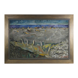 Lost Art Salon - Framed Original Mid Century Oil Abstracted Beach Scene - Every day is a day at the beach when you hang this pensive ocean scene in your home. Enjoy the peace of the driftwood and gentle waves depicted in this midcentury oil on canvas piece. Signed by artist Wladyslaw Smiga, this one-of-a-kind painting is perfection.