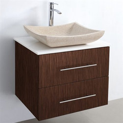"Modern Bathroom - Bianca 24"" Wall-Mounted Modern Bathroom Vanity - Zebrawood - Say hello to another Modern Bathroom exclusive, in the form of the stunning Bianca 24"" Wall-Mounted single bathroom vanity. At 24"" wide it's perfect for a guest bathroom remodel, fantasy-build master-bath or get creative and double-up for a breathtaking his/hers arrangement that is sure to be the envy of all your guests. Featuring soft-close drawer guides, you'll never hear a drawer slam shut again! Constructed of seagreen glass, white man-made stone, or natural marble counter, and a high quality porcelain or natural marble or granite vessel sink and Solid Oak wood cabinet with Zebrawood finish with modern brushed chrome accents. Now available with optional CaesarStone® counters! Available in multiple finishes to suit any bathroom decor and in a range of single and double vanity sizes.The unique styling of the Bianca wall-mounted vanity lends a dramatic and beautiful appearance to the overall design and function of your bathroom, for years to come. Features Constructed of solid, environmentally friendly, zero emissions wood and veneers, engineered to prevent warping and last a lifetime Includes vanity, glass or stone counter, porcelain vessel or natural granite sink, drain assembly and P-trap Modern Wall-Mount Design Constructed of environmentally friendly, zero emissions solid Oak hardwood, engineered to prevent warping and last a lifetime 12-stage wood preparation, sanding, painting and finishing process Highly water-resistant low V.O.C. sealed finish Forward opening soft-close door on top and soft-close extended-slider drawer underneath Fully-extending under-mount soft-close drawer slides Deep Doweled Drawers Features metal exterior hardware with brushed chrome finish Counter options include green glass, pure white cultured stone, white carrera marble, black granite and Caesarstone (many colors available) Variations in the shading and grain of our natural stone products enhance the individuality of your vanity and ensure that it will be truly unique Optional matching mirror Includes single hole faucet mount Faucet not included Minimal assembly required How to handle your counter Spec Sheet Spec Sheet for WC-V202 Spec Sheet for WC-V203 Spec Sheet for WC-V205 Installation InstructionsInstallation Guide for Mirrors Vessel Sink Dimensions   Width Depth Height Thickness Porcelain Sink 16.25"" 16.25"" 5"" 5/8"" Black Granite Sink 18"" 16"" 4"" at center, 5"" at corners 1 1/2"" Ivory Marble Sink 18"" 16"" Height: 3 7/8"" at center, 4 3/4"" at corners 1"" White Carrera Sink 18"" 16"" Height: 4"" at center, 5"" at corners 1"" Please note that all custom natural stone and Caesarstone counters are proudly manufactured in the USA specifically for your order, and so require up to 3 weeks manufacturing time. Caesarstone Carbone, Starry Night, Spring Blossom, and Marrone are made from recycled content. Quartz Reflections and Ruby Reflections colors are made with up to 35% post-consumer recycled glass. Chocolate Truffle color is made with up to 17% post-consumer recycled glass.Natural stone like marble and granite, while otherwise durable, are vulnerable to staining from hair dye, ink, tea, coffee, oily materials such as hand cream or milk, and can be etched by acidic substances such as alcohol and soft drinks. Please protect your countertop and/or sink by avoiding contact with these substances. For more information, please review our ""Marble & Granite Care"" guide."