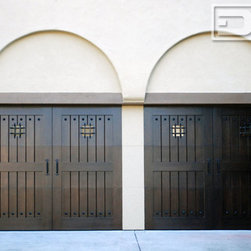 Custom Mediterranean Style Garage Doors Custom Designed for Your HOA's Approval - Real custom wood garage doors designed to your home's architectural style are hard to find and therefore many home owner associations are reluctant to approve garage door upgrades.