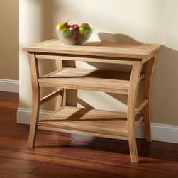 Boleh Teak Buffet - Add storage and eye-catching shape with the Boleh Teak Buffet. Perfect for the dining room or foyer, this versatile table works beautifully as a serving area or for organizing your entryway.